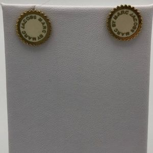 Marc by Marc Jacobs Cream and Gold Stud Earrings